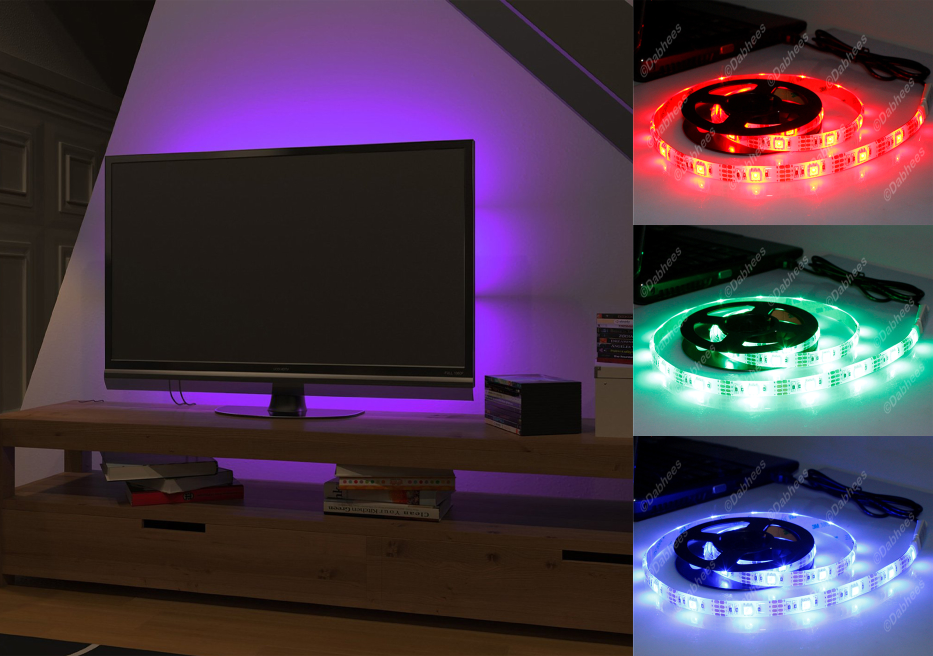 rgb led strip usb colour changing lighting kit 50cm tv. Black Bedroom Furniture Sets. Home Design Ideas